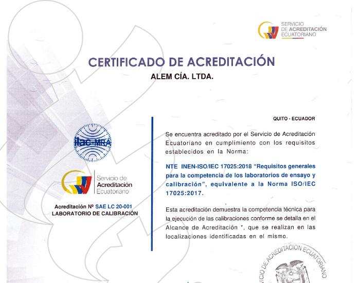 Acreditación SAE Laboratorio de calibración