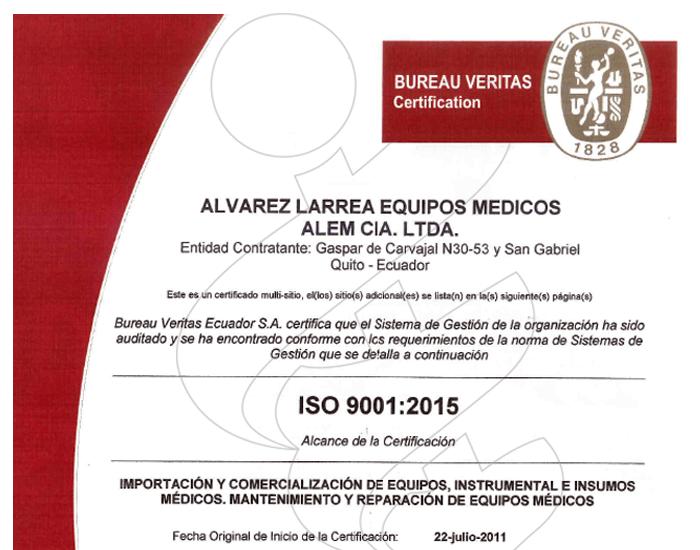 ISO 9001:2015 ALEM Cia Ltda